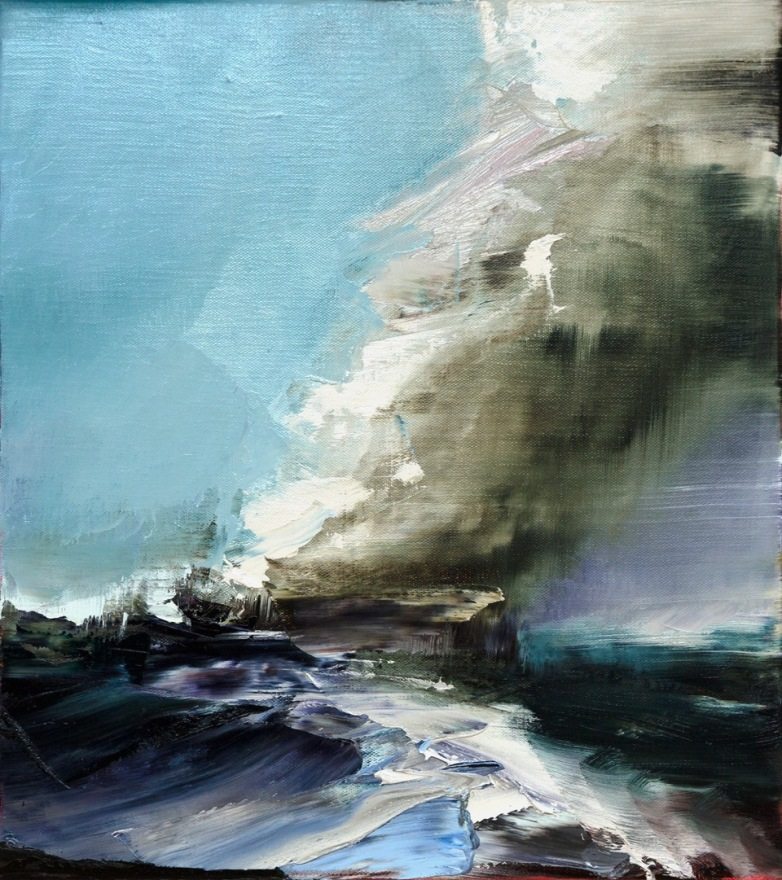 Aaron Kinnane, Tall ships - burn the boats, oil on linen, 54 x 48 cm