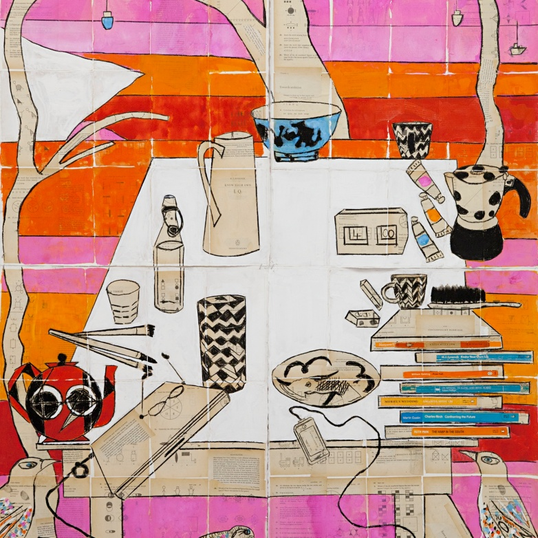 Katherine Hattam, A room with a view, mixed media, 162 x 112 cm
